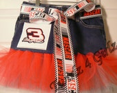 "For the ultimate Southern Daddy's Little Girl to twirl in - Denim Tutu Skirt with No. 3 Dale Earnhardt patch and ""Nascar""  ribbon"