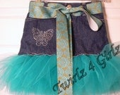 "Butterfly Bling - Denim Tutu Skirt with rhinestone ""Butterfly"", turquoise green tulle and turquoise green paisley ribbon"