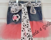 For the Girl who loves Soccer - Tutu Skirt with Soccer Ball with pink SWAK applique and soccer ball ribbon