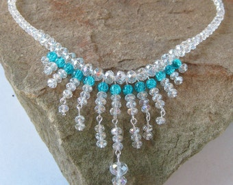 Aura Borealis Crystal and Teal Crackle Glass, Multi-Cascading-Drop Bridal Necklace - Peacock Wedding Collection