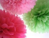 Tissue Paper Pom Poms - Pretty in Pink - Set of 3