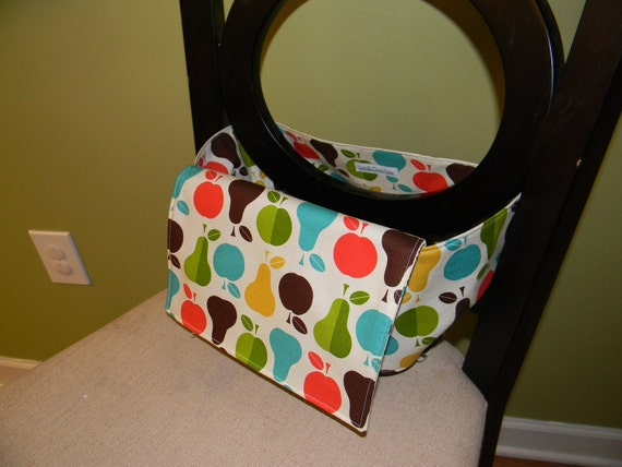 Fabric travel high chair: pear and apple print