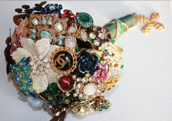 Brooch Bouquet designed with multi colored vintage brooches