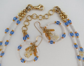 Necklace Earring Set - Beaded Necklace - Multi Strand Jewelry - Gold Beaded Hoops - Store Closing