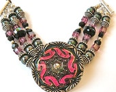 Hot Pink, Black and Green Handmade Sterling, Pearl and Czech Glass Button Bracelet