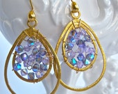 Lavender Special Occasion Handmade Swarovski Crystal and Gold Vermeil Earrings