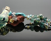 Aromatherapy Necklace: Secret Lagoon Lampwork Glass Pendant
