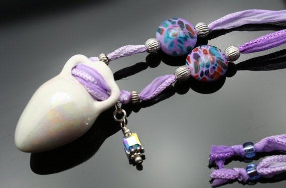 Aromatherapy Necklace: Lavender Mosaic Amphora Pendant