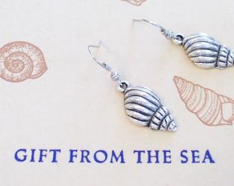 Antiqued Silver Whelk Sea Shell Earrings