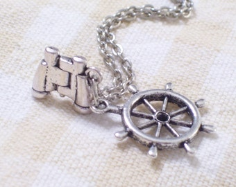 Antiqued Silver 3D Binoculars & Ship Captain's Wheel Nautical Sailor Necklace