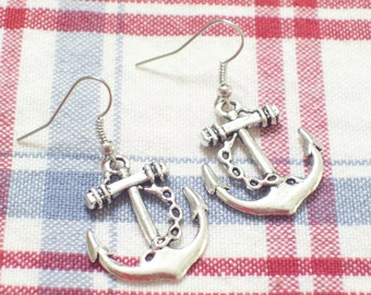 Antiqued Silver Ship Anchor Earrings