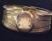 RESERVED Vintage Goldtone Art Deco Style Floral Oval Locket Textured Hinged Clamper Bangle Bracelet