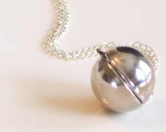 Vintage Silver Plated Sphere Ball Locket Necklace, Secret Message Locket