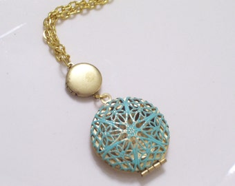 Double Locket Necklace, Vintage Brass Mini Locket Aqua Patina Locket Duo Necklace Gold Plated Chain