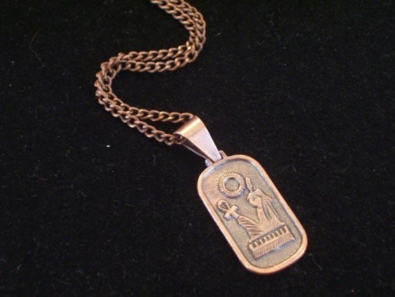 RESERVED Vintage Egyptian Deity Ma'at Goddess of Truth Balance Order and Justice Copper Pendant Necklace