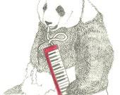 A4 Digital Print - Panda Playing a Melodica