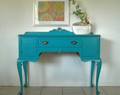 Turquoise Buffet, Vanity, Desk, Sideboard, Table