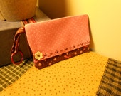 Wristlet Wallet Perfect for traveling, hiking and much more. Shabby Chic Brown n Pink. Support Breast Cancer.