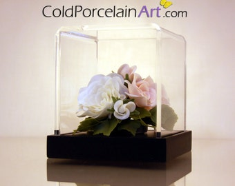 White and Pink Roses - ColdPorcelainArt - Made to Order