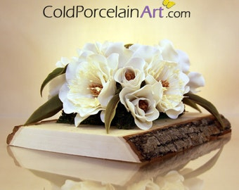 Magnolia Flower Centerpiece - Cold Porcelain Art - Made to Order