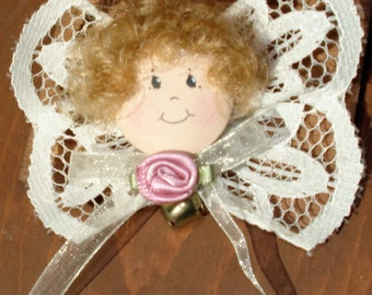 Angel Pin with Bell and Lace Wings