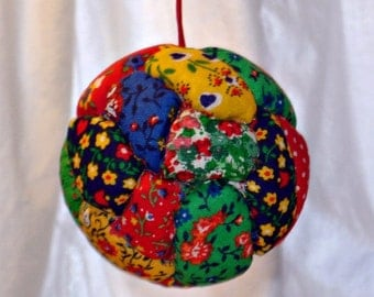 Crazy Quilt Ball Ornaments or Bowl Filler - Brights