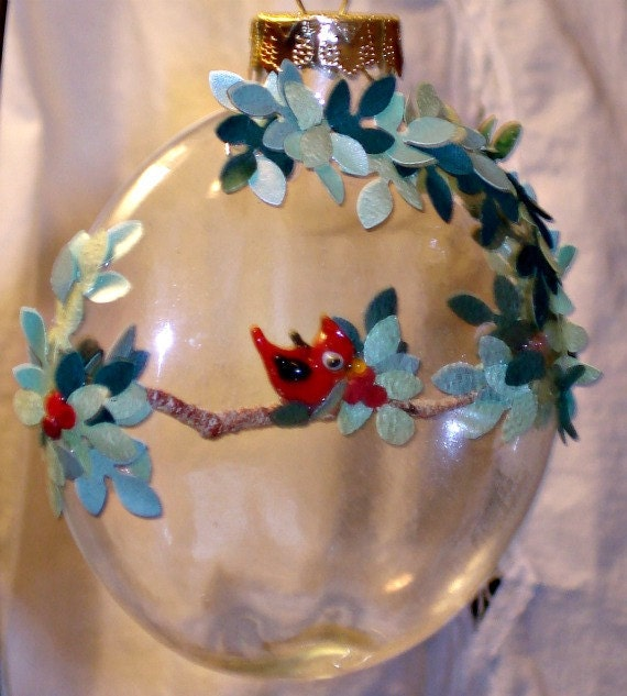 Cardinal in a Glass Ornament
