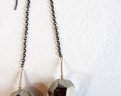 PYRITE & gunmetal chain dangle earrings