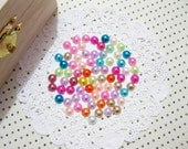 5mm Assorted Mixed Color Flatback Imitation Pearls Embellishment For Scrapbooking Decoden Hair Accessories