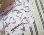 Antique Silver Tone Heart Key Charm 6 PCS
