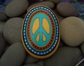 Hand Painted Peace Sign Rock