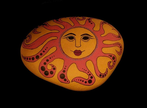 Hand Painted Sun Face Rock