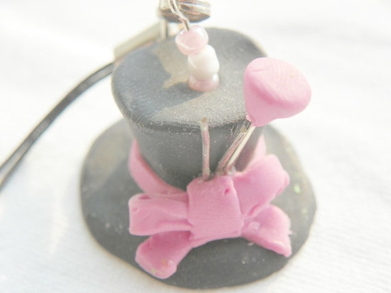 Pink Mad Hatter Hat- Phone Charm