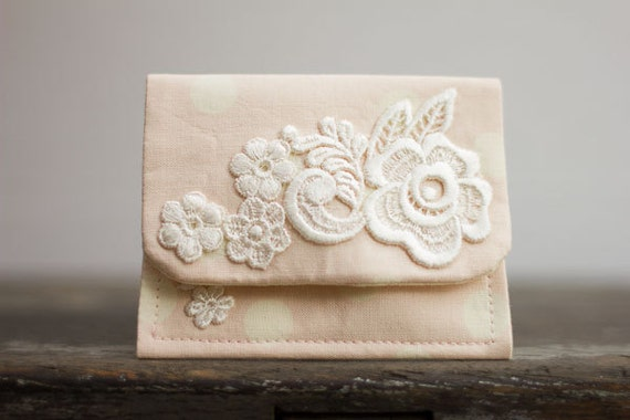 Fabric Wallet, Gift Card Holder, Business Card Holder, Lace, Peach and Cream
