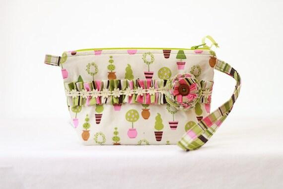 Zipper Wristlet Purse Pouch Ruffle Spring Green and Pink
