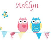 Cute owls and birds  on a banner vinyl wall decal also butterfly and child's name great for any child nursery