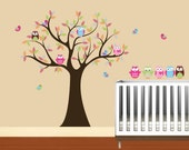 Kids Tree with 4 owls 7 birds and set of 4 FREE owls nursery vinyl wall decal