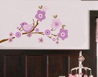 Kids tree branch vinyl wall decal in lilac purple