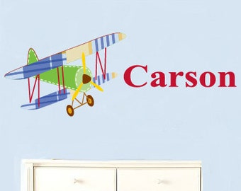 Nursery name decal - Vinyl decals - Children's name decal - Plane with name decal