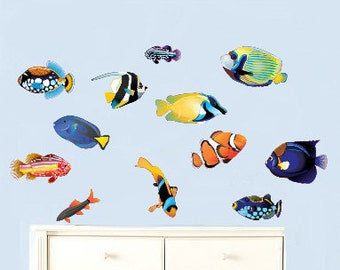 Set of 12 fish vinyl wall decal great for any nursery kids room of any wall