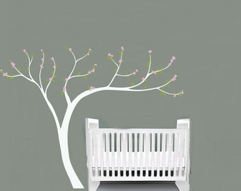 "Kids Cherry Blossom tree white trunk vinyl wall decal 108""x84"""