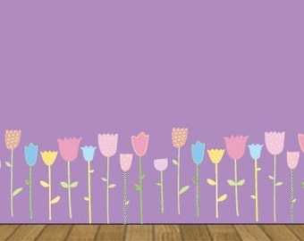 Kids childrens set of 36 tulip flowers removable vinyl wall decal