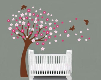 Nursery decal - Blowing tree - butterfly decal - Flower decal - leaning tree decal - Vinyl wall decal -  wall decals - Girl tree - Baby room