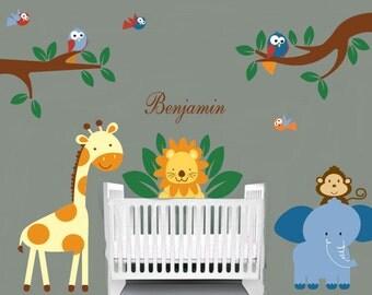 Jungle decal set -  tree and branch set decals - giraffe, elephant, lion, birds, monkeys, vinyl wall decal, name decal, nursery wall decals
