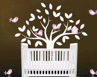 Nursery Kids tree vinyl wall art decal with 6 birds and a cute birdhouse