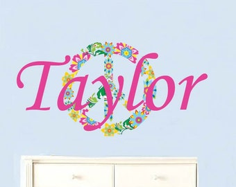 Teen Decal - Name decals - Kids initial - monogram name - peace sign -  vinyl wall decal