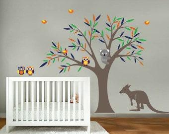 Kids tree vinyl wall decal with birds owls Koala bear and Kangaroo too cute
