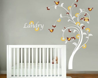 Nursery tree decal - Owl tree - Name decal - Vinyl wall decal - Wall decals - Owls and birds