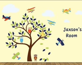 Nursery decals - Tree decal - owl tree - Plane decals - Vinyl decals - name decal