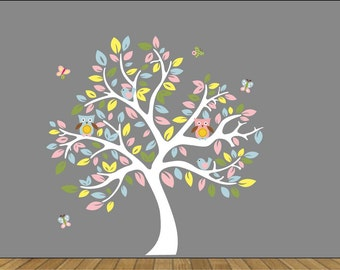 Kids tree vinyl wall decal with owls and butterflys So sweet for any girl nursery